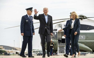 President Joe Biden and first lady Jill Biden walk to board Air Force One at Joint Base Andrews, in Maryland on Wednesday, June 9, 2021, as they depart for Europe where President Biden is scheduled for a series of meetings with leaders from NATO, the European Union, and the Group of 7. (Doug Mills/The New York Times)