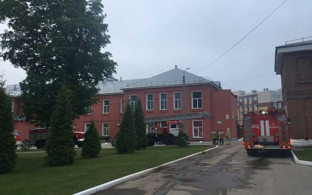 A view shows firefighting vehicles following an accident at a hospital in the city of Ryazan, Russia Jun 9, 2021. REUTERS