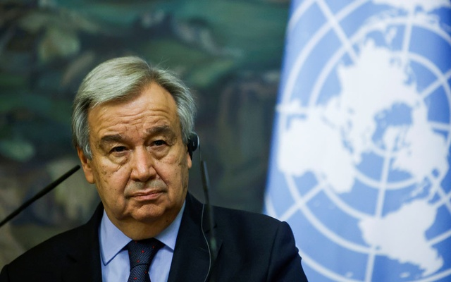 UN Secretary-General Antonio Guterres attends a news conference following talks with Russian Foreign Minister Sergei Lavrov in Moscow, Russia May 12, 2021. Reuters