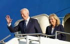 US President Joe Biden and first lady Jill Biden disembark from Air Force One as they arrive at RAF Mildenhall ahead of the G7 Summit, near Mildenhall, Britain June 9, 2021. REUTERS