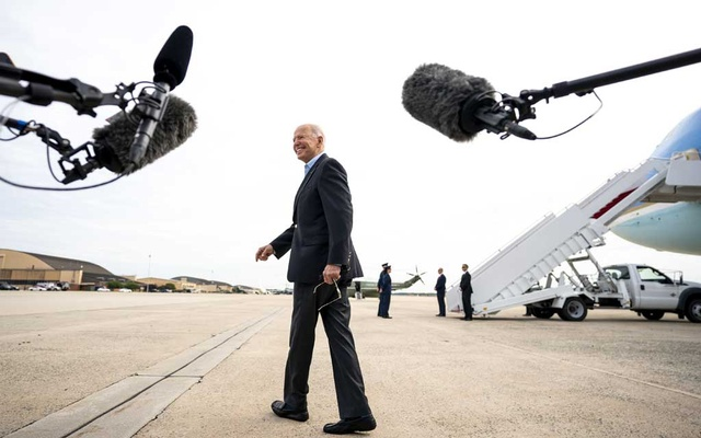 President Joe Biden walks to board Air Force One at Joint Base Andrews, in Maryland after speaking with reporters Wednesday, June 9, 2021, as he departs for Europe for a series of scheduled meetings with leaders from NATO, the European Union, and the Group of 7. (Doug Mills/The New York Times