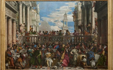 """A provided image shows the painting """"The Wedding at Cana,"""" by Paolo Veronese. The painting was seized by Napoleon's forces in Venice, Italy, and brought to France, where it remains. (Louvre Museum; RMN-Grand Palais via The New York Times)"""