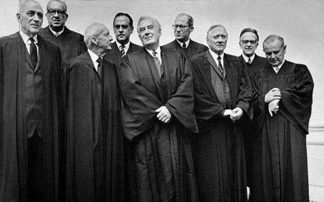 The Supreme Court justices in Washington, circa 1970. From left, Associate Justice John Marshall Harlan, Associate Justice Thurgood Marshall, Associate Justice Hugo Black, Associate Justice Potter Stewart, Chief Justice Warren Burger, Associate Justice Byron White, Associate Justice William Douglas, Associate Justice Harry Blackmun and Associate Justice William Brennan. In a 6-3 split, the Supreme Court ruled in favour of The New York Times. Mike Lien/The New York Times