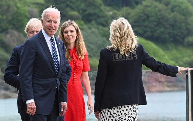 US first lady Jill Biden wearing a jacket with the word