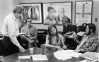 Linda Amster, centre, with, from left, E.W. Kenworthy, known as Ned; Fox Butterfield; and Hedrick Smith, known as Rick, in a conference room at the New York Times building in Manhattan in June 1971. She was one of very few women who worked in the Times newsroom in 1971. (Renato Perez/The New York Times)