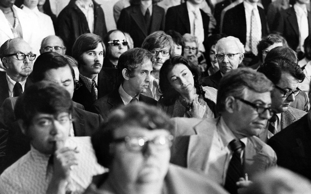 Daniel Ellsberg and Patricia Marx, his wife, centre, at the Watergate hearings in Washington in 1973. Nine months before the Watergate break-in, the so-called plumbers had ransacked the office of Ellsberg's psychiatrist, in search of incriminating files. (Mike Lien/The New York Times)