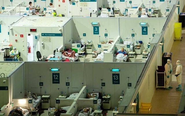 A general view of treatment blocks at a temporary hospital in the Krylatskoye Ice Palace, where patients suffering from the coronavirus disease (COVID-19) are treated, in Moscow, Russia June 11, 2021. REUTERS