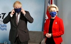 Britain's Prime Minister Boris Johnson and European Commission President Ursula von der Leyen look on as they meet with European Council President Charles Michel during the G7 summit in Carbis Bay, Cornwall, Britain, June 12, 2021. REUTERS