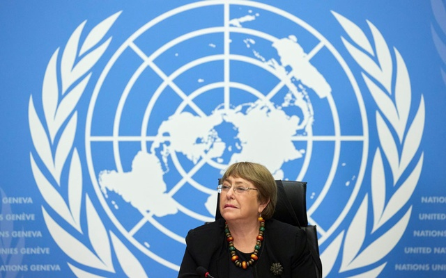 FILE PHOTO: UN High Commissioner for Human Rights Michelle Bachelet attends a news conference at the European headquarters of the United Nations in Geneva, Switzerland, December 9, 2020. REUTERS/Denis Balibouse/File Photo