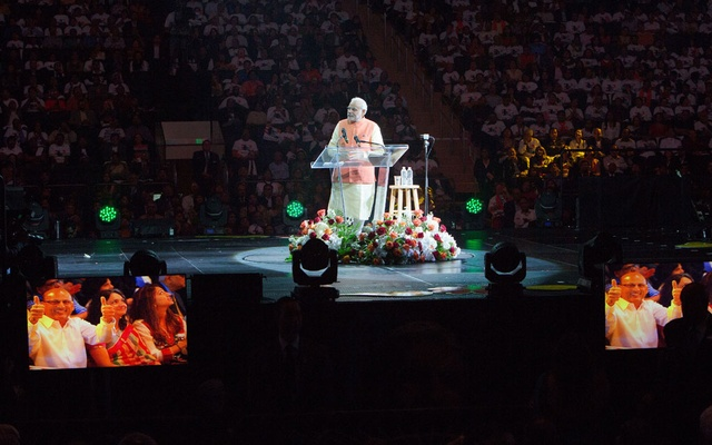 Prime Minister Narendra Modi of India addresses a crowd of more than 18,000 at Madison Square Garden in New York, Sept. 28, 2014. Modi's efforts to squelch dissent and to accentuate the positives may not be able to counter widespread anger over his government's stumbling response to the coronavirus pandemic. (Ruth Fremson/The New York Times).