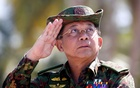 FILE PHOTO: Myanmar military commander-in-chief, Senior General Min Aung Hlaing, salutes while attending a military exercise at Ayeyarwaddy delta region in Myanmar, February 3, 2018. REUTERS/Lynn Bo Bo/Pool/File Photo
