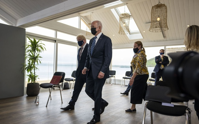 British Prime Minister Boris Johnson, left, and President Joe Biden walk before their meeting at Carbis Bay, England, June 10, 2021. With Trump gone and Turkey's economy in crisis, the country's strongman president, Recep Tayyip Erdogan, is now trying to placate Western leaders rather than antagonize them. But how far can he be pushed? (Doug Mills/The New York Times)