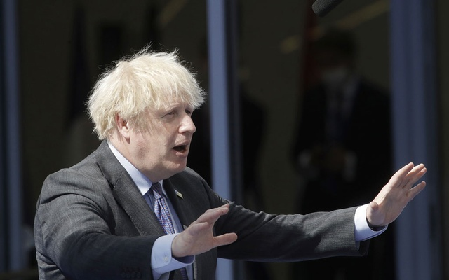 Britain's Prime Minister Boris Johnson arrives for the NATO summit at the Alliance's headquarters, in Brussels, Belgium, June 14, 2021. Olivier Hoslet/Pool via REUTERS