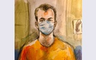 Nathaniel Veltman, 20, accused of mowing down a Muslim family with his pickup truck in what Canadian police are calling a hate-motivated attack, appears briefly by Zoom before a judge during a court appearance in London, Ontario, Canada, June 10, 2021 in this courtroom sketch. REUTERS