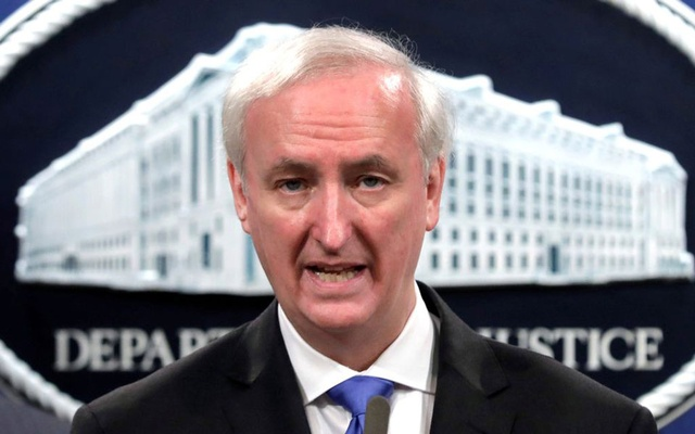 Acting US Attorney General Jeffrey Rosen speaks at a a news conference at the Justice Department in Washington, US, October 21, 2020. He was deputy attorney general at the time. REUTERS/Yuri Gripas/Pool