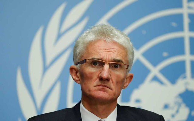 UN humanitarian coordinator Mark Lowcock attends a news conference following a joint mission to Afghanistan and Pakistan at the United Nations in Geneva, Switzerland, September 10, 2018. REUTERS