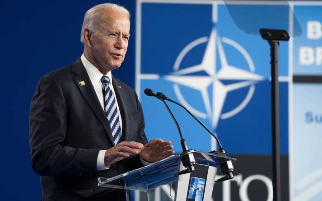 President Joe Biden speaks at NATO headquarters in Brussels on Monday, June 14, 2021. At President Biden's first meeting as president with NATO nations, he reiterated his support for the alliance that his predecessor disparaged. (Doug Mills/The New York Times)