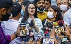 Film star Pori Moni speaking to the media after meeting police officials at the Detective Branch office on Tuesday, Jun 15, 2021 about a case over alleged rape and murder attempts on her. Photo: Mahmud Zaman Ovi