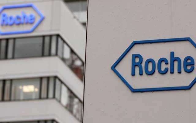 The logo of Swiss drugmaker Roche is seen at its headquarters in Basel, Switzerland February 1, 2018. Reuters