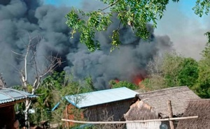 A view shows smoke from the fire in Kin Ma Village, Pauk Township, Magway Region, Myanmar June 16, 2021, in this picture obtained by Reuters from social media.