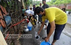 Residents of Dhaka's Sher-e-Bangla Nagar Government Staff Quarters have been collecting water from a WASA pump for the last three days after their own pump was damaged. Photo: Asif Mahmud Ove