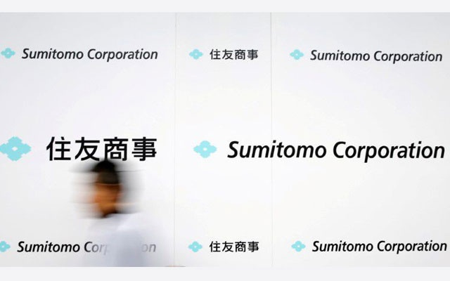 Logos of Sumitomo Corp are seen after the company's initiation ceremony at its headquarters in Tokyo, Japan April 2, 2018. REUTERS/Toru Hanai