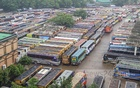 The photograph shows the situation at the Mohakhali Bus Terminal on Tuesday, June 22, 2021 after the suspension of long-haul bus service from Dhaka to other parts of the country. Photo: Asif Mahmud Ove