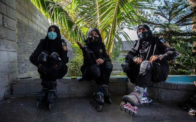 Members of the Sindh Police's in-line skating unit during a break in training in Karachi, Pakistan. Saiyna Bashir for The New York Times