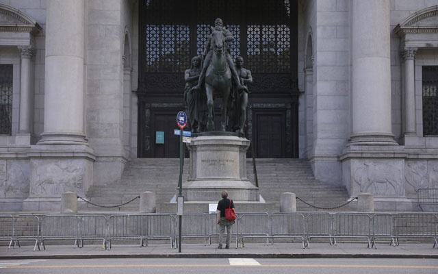 A statue of Theodore Roosevelt in front of the American Museum of Natural History in New York, Jun 19, 2020. The New York City Public Design Commission voted unanimously at a public meeting on Monday to relocate the statue by long-term loan to a cultural institution dedicated to the life and legacy of the former president. Caitlin Ochs/The New York Times
