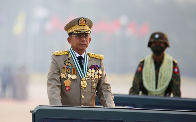 Myanmar's junta chief Senior General Min Aung Hlaing, who ousted the elected government in a coup on February 1, presides an army parade on Armed Forces Day in Naypyitaw, Myanmar, March 27, 2021. Reuters