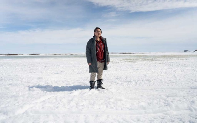 Anna Abraham, the mayor of Chefornak, Alaska, said she grew up hearing stories from elders about how the weather would warm, April 26, 2021. Many Native people were forced into the most undesirable areas of America, first by white settlers, then by the government. Now, parts of that marginal land are becoming uninhabitable. (Ash Adams/The New York Times)