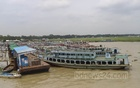 Launches are docked in rows at Shimulia pier in Munshiganj amid a ban on passenger transport during a lockdown over spiralling coronavirus cases and deaths. Photo: Asif Mahmud Ove