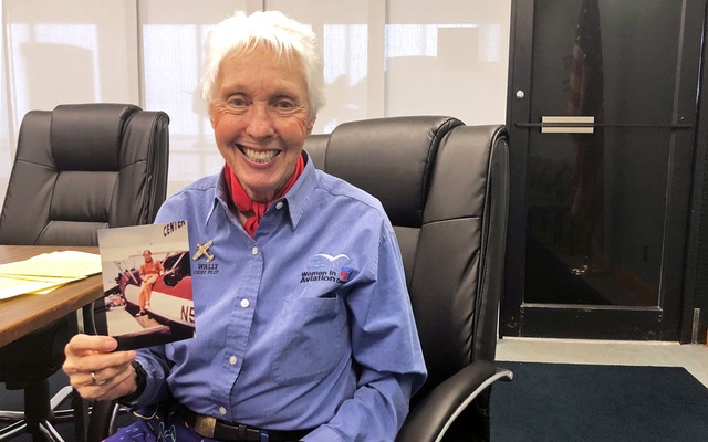 Wally Funk, a Virgin Galactic ticketholder and one of the First Lady Astronaut Trainees or 'Mercury 13' women, is pictured holding a photo of herself at the International Women's Air and Space Museum in Cleveland, Ohio, US March 29, 2019. Reuters