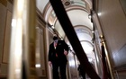 Jason Miller, former senior advisor to 2020 Trump campaign walks during the second impeachment trial of former US President Donald Trump in the US Capitol in Washington, US, February 13, 2021. Stefani Reynolds/Pool via REUTERS