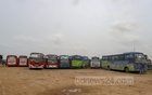 Buses are parked at Shimulia pier in Munshiganj amid a ban on passenger transport during a lockdown over spiralling coronavirus cases and deaths. Photo: Asif Mahmud Ove