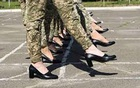 In a photo provided by the Ukrainian military that has received widespread criticism, cadets practice marching in heels in Kyiv ahead of a military parade. Ukrainian Defence Ministry Press, via Agence France-Presse — Getty Images