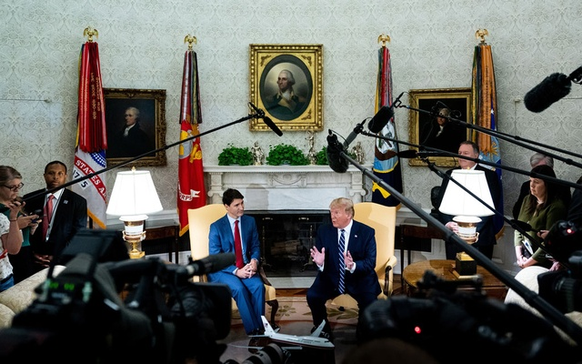 President Donald Trump meets with Canadian Prime Minister Justin Trudeau in the Oval Office of the White House in Washington, June 20, 2019. The New York Times