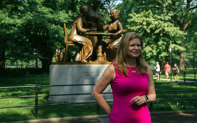 Kathryn Garcia at a news conference about her run for mayor of New York City, in front of the Women's Rights Pioneers Monument in New York's Central Park, on Wednesday, Jul 7, 2021. Kathryn Garcia and Maya Wiley placed second and third in the Democratic mayoral primary. Elizabeth D Herman/The New York Times