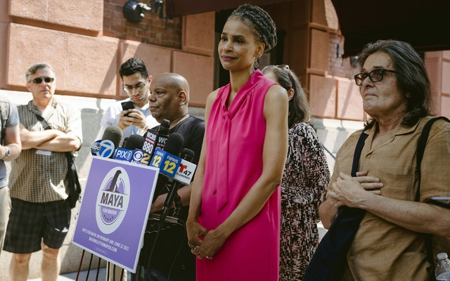 Maya Wiley during a news conference in New York on Wednesday, Jul 7, 2021, where she conceded the Democratic primary race for New York City mayor to her opponent Eric Adams. Kathryn Garcia and Wiley placed second and third in the Democratic mayoral primary. Sara Naomi Lewkowicz/The New York Times