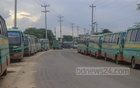 Buses are parked along both sides of Ghatrchar Road in Keraniganj as public transport system is closed amid a nationwide coronavirus lockdown. Photo: Asif Mahmud Ove