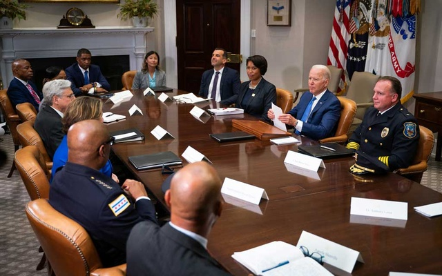 President Joe Biden, flanked by District of Columbia Mayor Muriel Bowser, left, and Wilmington, Chief of Police Robert Tracy, right, addresses a meeting about reducing gun crime, at the White House in Washington on Monday, July 12, 2021. The New York Times
