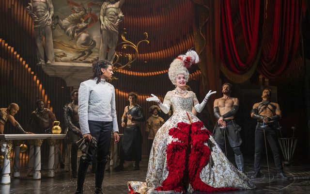 """In an undated image provided by Tristram Kenton, Ivano Turco, left, and Rebecca Trehearn in a scene from Andrew Lloyd Webber's new musical """"Cinderella,"""" which is now playing to reduced capacity audiences, despite his wishes. The New York Times"""