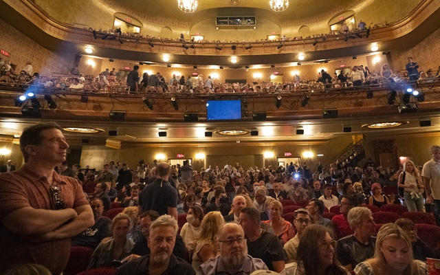"""Audience members take their seats before """"Springsteen on Broadway"""" at the St James Theatre in New York, June 26, 2021. The New York Times"""