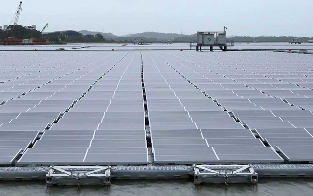 General view of one of the world's largest floating solar panel farms in Singapore, July 13, 2021, in this still image taken from video. REUTERS