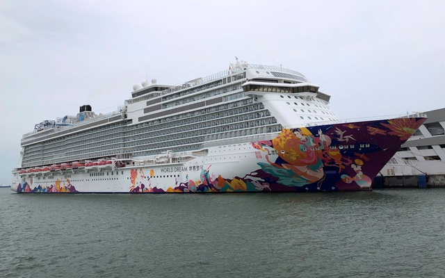 A cruise ship is docked at harbour after turning back due to positive coronavirus disease (COVID-19) case on board, in Singapore Jul 14, 2021. REUTERS