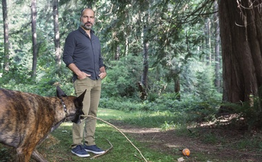 Dara Khosrowshahi, the chief executive of Uber, at his home on Whidbey Island in Washington, June 18, 2021. Khosrowshahi, 52, is weirdly normal for Silicon Valley, Maureen Dowd writes. (Annie Tritt/The New York Times)
