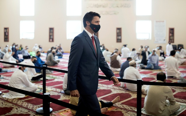 Canada's Prime Minister Justin Trudeau visits the Hamilton Mountain Mosque at the start of Eid in Hamilton, Ontario, Canada on Tuesday, July 20, 2021. REUTERS