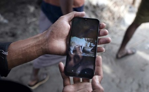 A cattle trader shows a picture of his cow that he sold online, at the Gabtoli Cattle market in Dhaka, Bangladesh, July 20, 2021. Amid a surge in coronavirus cases, farmers and families in Bangladesh have turned to online marketplaces to buy and sell millions of animals for sacrifice during the festival of Eid-ul-Azha. (Fabeha Monir/The New York Times)