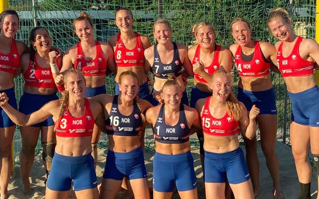 An undated photo provided by the Norwegian Handball Federation of Norway's women's beach handball team, which was fined by the European Handball Federation after wearing shorts instead of bikini bottoms during a bronze medal game against Spain at the European Beach Handball Championships in Varna, Bulgaria. The players, who were each fined 150 euros (about $177), had been planning for weeks to flout the rules to highlight a double standard for female athletes. (Norwegian Handball Federation via The New York Times)