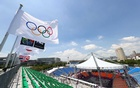Tokyo 2020 Olympics - Basketball 3x3 Training - Aomi Urban Sports Park, Tokyo, Japan - July 21, 2021 The Olympic rings are seen on a flag during training REUTERS